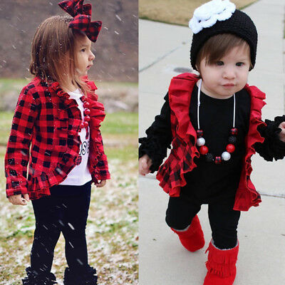 AU Kids Baby Girl Toddler Ruffle Outwear Coat Spring Winter Jacket Clothes 1-5Y