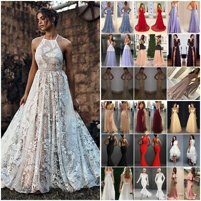 Womens Lace Long Formal Wedding Evening Ball Gown Party Prom Bridesmaid Dress UK