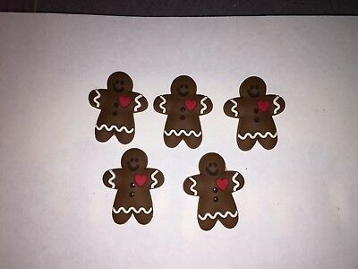 Brand New  5x Rubber Gingerbread Men Buttons  Embellishments Craft Sewing Cards