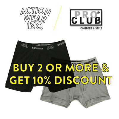 Proclub Mens Boxer Briefs Mens Underwear Boxwers Long Johns Undies 100% Cotton