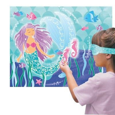 Mermaid Theme Party Game Pin The Seahorse On The Tail  For 14 Guests