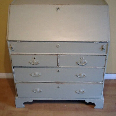 18th century oak bureau writing desk painted farrow and ball french grey