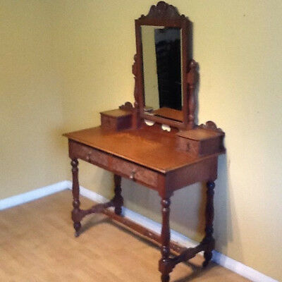 victorian oak dressing table in the asthetic style