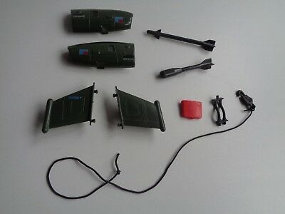 Gi Joe part DRAGONFLY 1983 RIGHT LEFT ENGINE COVER WING MISSILE GUN HOSE WINCH