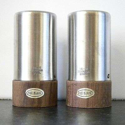 RETRO VINTAGE STAINLESS STEEL SALT & PEPPER SHAKERS with WOODEN BASES - JAPAN