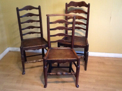 three early 19th cenury ash elm and beech ladderback chairs