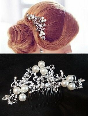 Vintage Wedding Bridal Hair Comb Pearl Rhinestones Crystal Silver Headpiece NEW