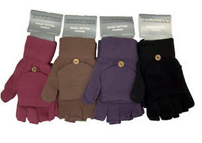 Magic Fingerless Combo Mitten Gloves Thermal Acrylic 2 in 1 Winter Warm Unisex
