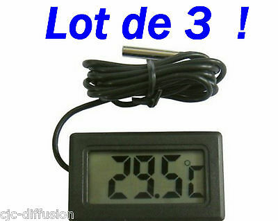 lot de 3 THERMOMETRES lcd + cable + sonde 3 x Thermometre PILES AG13 FOURNIES