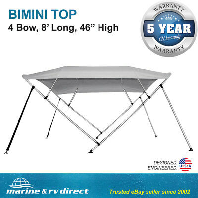 "New Bimini Top Boat Cover 4 Bow 46"" H 67"" - 72"" W Gray 8 Foot Long"