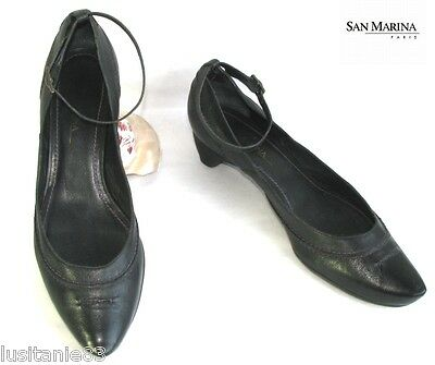 San Marina - Shoes Small Heels Flange Ankle all Leather Black 41 - Perfect