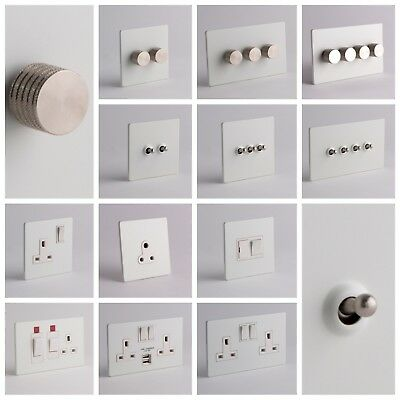 DESIGNER SOCKETS AND SWITCHES - White and Silver