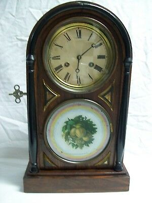 Antique Seth Thomas 8 Day Chime Mantle Clock Hand Painted Peach Design Glass