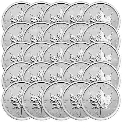 Lot of 25 x 1 oz 2016 Canadian Maple Leaf Grizzly Privy Reverse Proof Silver Coi