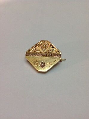 Broche or 18kt et perles fines