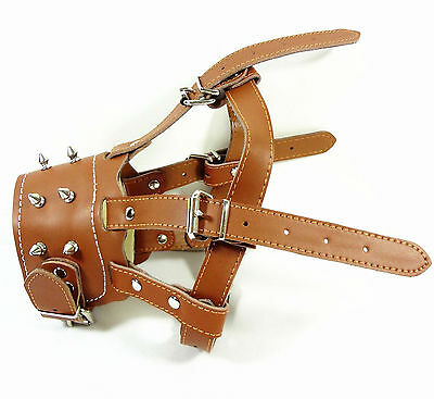 Spiked Studded Leather Dog Muzzle Adjustable for Pit Bull Terrier Doberman Husky