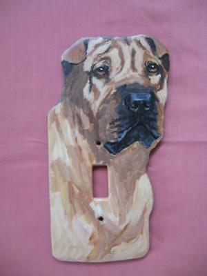 SharPei Handpainted Wooden Lightswitch Plate - New