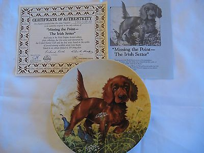 """Irish Setter """"Missing the Point"""" Collector's Plate by Lynn Kaatz Knowles #18872B"""