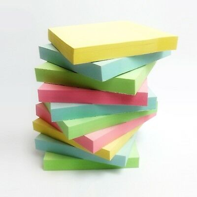 """1200 PASTEL Removable Sticky Post Notes 76mm x 76mm 3""""x 3"""" (12 packs of 100)"""