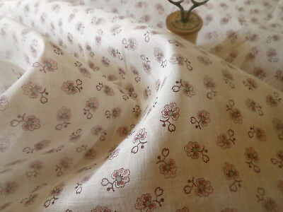 Antique Small Scale Lavender Floral Batiste Cotton Fabric ~ Flaxon ~dolls blouse