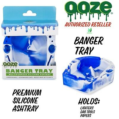 Ooze Premium Silicone Banger Ashtray Tool Pen Holder 6 X 6 Round White Blue New