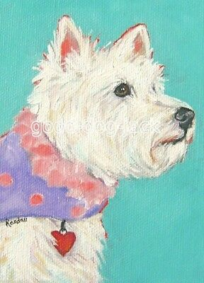 "West Highland Terrier ACEO WESTIE PRINT Painting ""LUV BUG"" Dog Art - RANDALL"