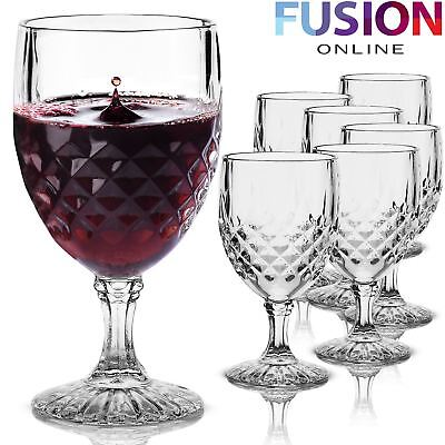 6 Red Wine Glasses Clear Crystal Effect Glass Champagne Flutes Wedding Drinks