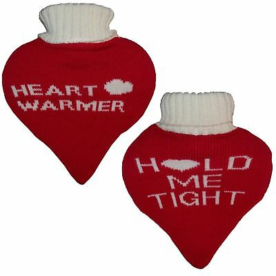 Valentines Day Gift For Him Or Her Heart Shaped Hot Water Bottle Knitted Cover