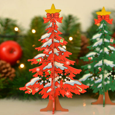 Cartoon Wooden Christmas Tree Xmas Decoration DIY Table Desk Ornament Red/Green