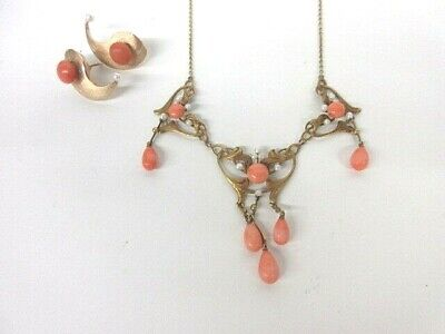 21 GRAMS~ANTIQUE VICTORIAN 10K Yellow Gold w/ Coral LAVALIER Necklace & Earrings