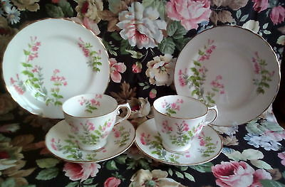 Vintage China Tuscan Tea for Two Trios Tea Cup Saucer Plate English Bone China