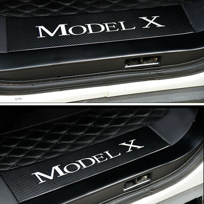 Car Door Sill Scuff Cover,Carbon Fiber Sticker for Tesla Model X 4pcs/set