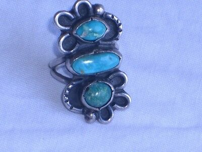 Vintage Sterling Silver & Turquoise Ladies Knuckle Ring sz 6 (id371)