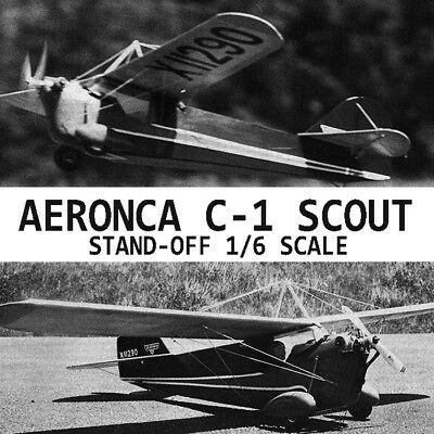 """Model Airplane Plans (RC): Aeronca C-1 Scout 57-3/4"""" 1/6 S.O. Scale for .19-.29"""