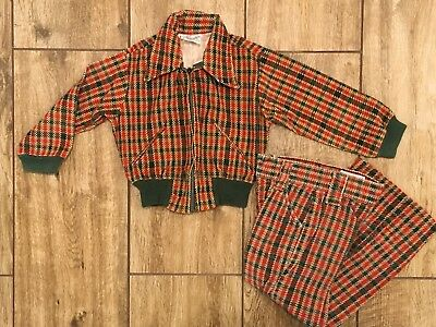 Vintage boys size 6 plaid Suit 1970's Billy the Kid Pants Zip Jacket Green Red
