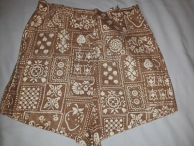Vintage 70s Shorts brown & white patterned - VTG shorts