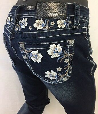 Women GRACE in LA JEANS FLORAL Stone WHITE STITCH Blue BOOT CUT EB81177 Easy Fit