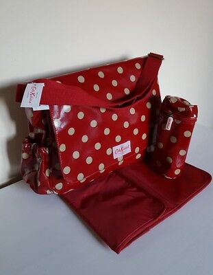 CATH KIDSTON Baby Nappy Changing Diaper Bag, Mat & Bottle Holder Button Spot