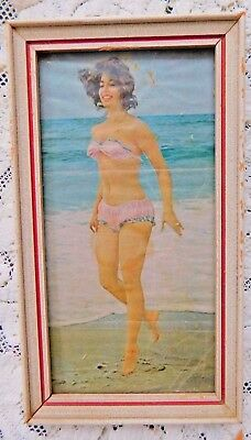 ANTIQUE WOOD FRAMED PRINT GIRL IN UNDERWEAR ON THE BEACH EARLY 1900's - 1960's ?