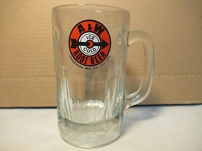 A & W Rootbeer Vintage Glass Mug Clear Dimpled Soda Cup