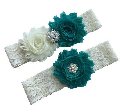 Teal wedding garter plus size bridal garter belt lace