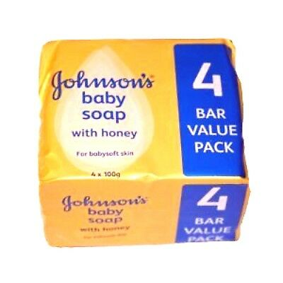 3 packs of New Johnson's Baby Soap with Honey 3 packs of 4 = 12 x 100g soap bars