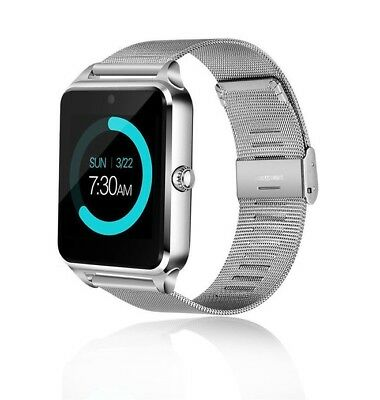 Silver Bluetooth Smart Watch For Samsung iPhone X XR HTC LG Android Wrist Phone