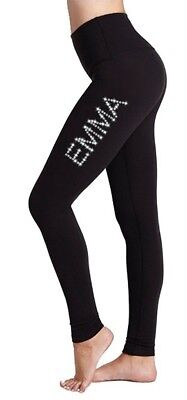 Personalised LYCRA Black Dance Gymnastic Gym Leggings Silver Pink Glitter Text