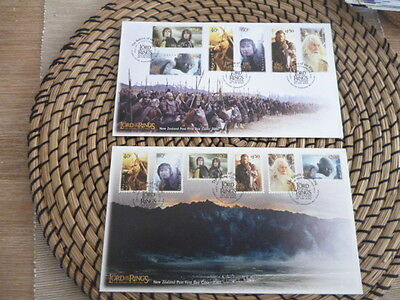 New Zealand 2003 fdc x 6 Lord of the Rings  3 Different sets   2001,2002,2003