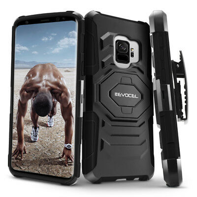 Galaxy S9 & S9 Plus Case, Evocel Rugged Holster Dual Layer Case w/ Kickstand