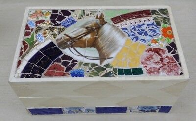 Horse Mosaic Jewelry Wood Trinket Box Hand Crafted Canada Broken Dish Tiles