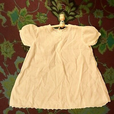 IMPORTED HANDMADE '50s Vintage Baby Girls White Embroidered Short Sleeve Top 1Yr