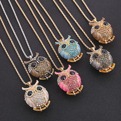 Women Owl Crystal Pendant Necklace Animal Long Sweater Chain Jewelry 1 Pc