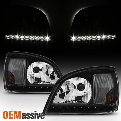 Fit Black 2000 2001 2002 2003 2004 2005 Cadillac Deville LED Headlights Headlamp